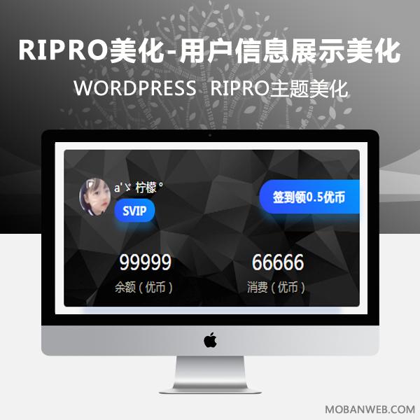 RIPRO主题美化-用户信息展示小工具美化