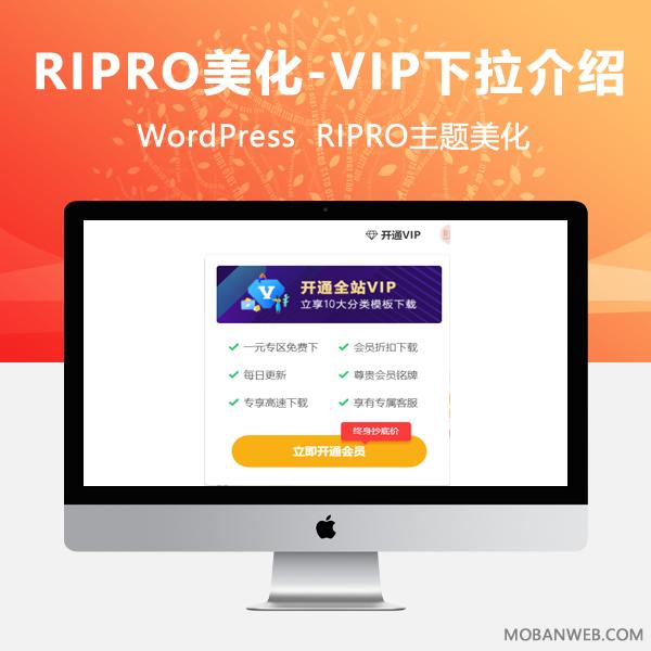 Ripro主题美化-导航栏VIP会员下拉分类介绍