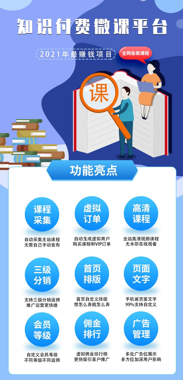 知识付费微课堂小程序公众号PC微课系统虚拟订单分站搭建系统